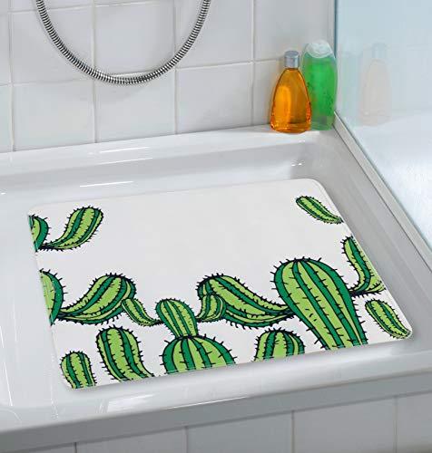 Wenko Duscheinlage Cactus, 54x54cm, Thermoplastischer Kunststoff (TPR), Mehrfarbig, 54 x 54 x 0.1 cm