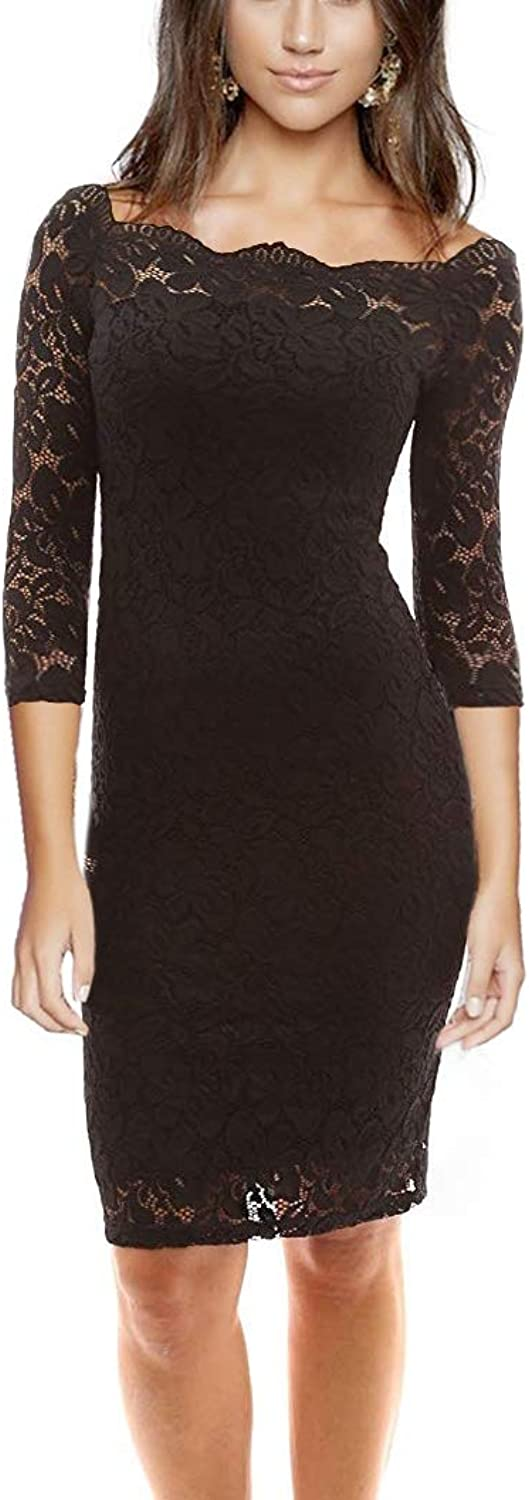 Women's Off Shoulder 3 4 Sleeve Bodycon Floral Lace Cocktail Party Wedding Dress