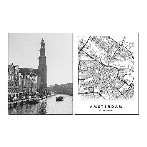 Amsterdam City Map Set Print Canvas Schilderij Zwart Wit Wall Art Foto Nederland Kaart Nordic Style Woonkamer Home Decor-50x70cmx2 pcs (geen frame)