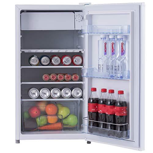 COSTWAY Kühlschrank mit Gefrierfach Standkühlschrank Gefrierschrank Kühl-Gefrier-Kombination/A+ / 91L / Weiß