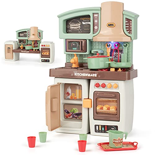 Pretend Play Kitchen for Toddlers,Toddler Playset with Realistic Lights and Sounds,Play Kitchen Accessories with Faucet,Sink,Microwave Oven,Play Food,Refrigerator,Stove,Double Oven, and Other Items.