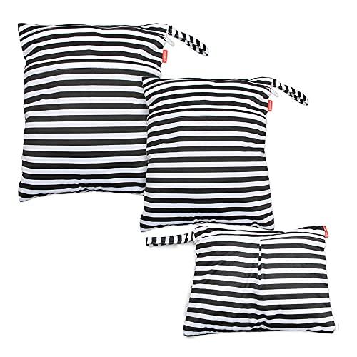 3PCS Bambino Riutilizzabile Borsa per Pannolini Wet Dry Bag, Lavabile Impermeabile Organizer Grande Sacchetto di Doppia Cerniera per Viaggi Spiaggia Piscina Gym