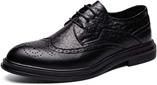 2019 Mens New Lace-up Flats Oxford Shoes for Men Brogue Shoes Microfiber Leather Lace Up Style Classic Engraved Comfortable Outsole Oxford Shoes for Men