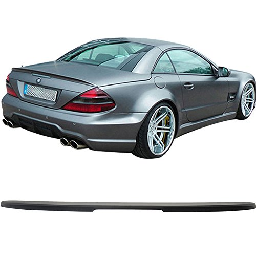 Trunk Spoiler Compatible With 2003-2011 Mercedes Benz SL-Class R230, AMG Style ABS Matte Black Rear Spoiler Deck Lip Wing by IKON MOTORSPORTS, 2004 2005 2006 2007 2008 2009 2010