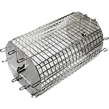 OneGrill Performer Series Universal Fit Grill Rotisserie Spit Rod Basket; Tumble & Flat Basket In One.(Fits 5/16  Square Spits)