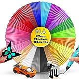 Filamento Pluma 3D PLA, 20 Colores, 5 Metros cada Color, Filamentos Lapiz 3D, Filamentos PLA Lápiz...