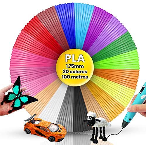 Filamento Pluma 3D PLA, 20 Colores, 5 Metros cada Color, Filamentos Lapiz 3D, Filamentos PLA Lápiz 3D, filamento boligrafo 3d, filamento pla 1.75mm 100 m boli 3D, hilo boligrafo 3D