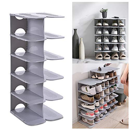 ACPOP Shoe Slots Organizer, Adjustable Shoe Rack,Better Stability Shoe Organizer,Shoe Stacker,Space Saver,Pack of 6,Grey