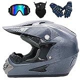 SBUNA Motorrad Cross Helme City-Rennradhelme ATV Schutzhelm Kreative Grau Sicherheit Schutz Sturzhelm Set mit Visor Brillenmaske und Handschuhen für Erwachsene Unisex Kinder Herren,L