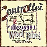 NNGT Retro Look Wool Label Collection Vintage Wall Decor Wall Plaque Metal Tin Sign 30X30 CM
