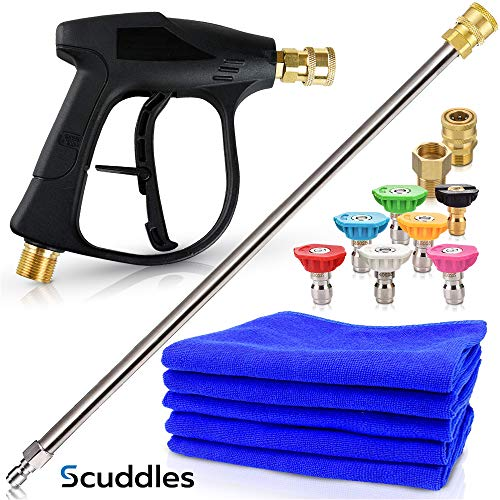 Scuddles   Pressure Washer   Upgraded 2021 Model  Full Car Wash Kit Includes 3 Micro Fiber Towels and Sponge for Detailing Cars Or SUVS   Pressure Washer Wand Extension Mega Set
