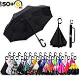 ABCCANOPY Double Layer Reverse Inverted Umbrella Windproof for Car and Outdoor Use,Anti-UV Waterproof