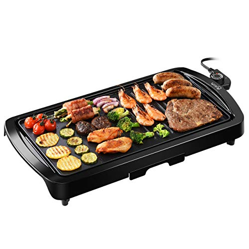 "IKICH Electric Grill Indoor 2-in-1 Pancake Griddle 16.73""x 8.94""Grill Smokeless Non-Stick with Cool-touch Handle, 5-Level Control, 1600W"