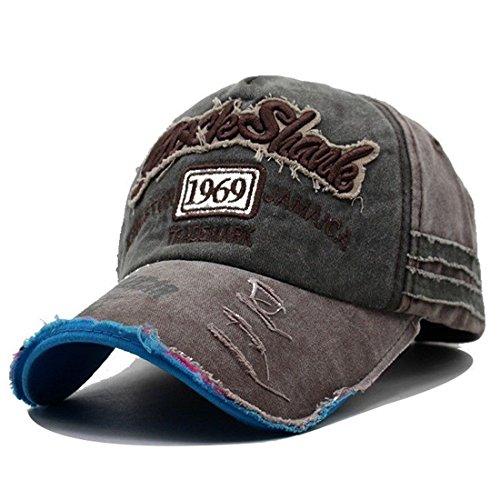 Kuyou Vintage Casquettes de Baseball Unisexe Chapeau Sport Trucker Hat (Vert armée)