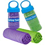 YQXCC Cooling Towels 2 Pack (47'x12') Travel Towel Microfiber Gym Towel for Men or Women Ice Cold Towels for Yoga Gym Travel Camping Golf Football & Outdoor Sports (Purple/Green)