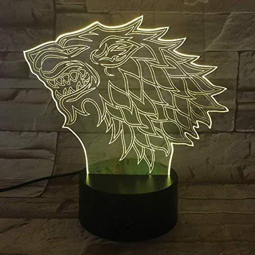 Huis Stark Wolf Een lied van ijs en vuur 7 kleuren Chang 3D Led Nachtlampje Slaapkamer Decor Lamp Man Jongens Giftled 3D Optische Illusionaisle Stair