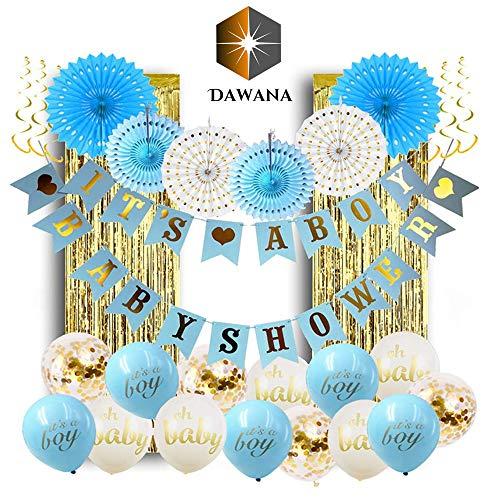 Dawana Baby Shower Junge Deko Set Boy 32 Teile Baby Party Dekoration Helium Luftballons Gold Blau Weiß Wimpelkette Lametta