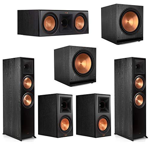 Lowest Price! Klipsch5.2 Ebony Home Theater System - 2 RP-8000F, 1 RP-600C, 2 RP-600M, 2 SPL-150 S...