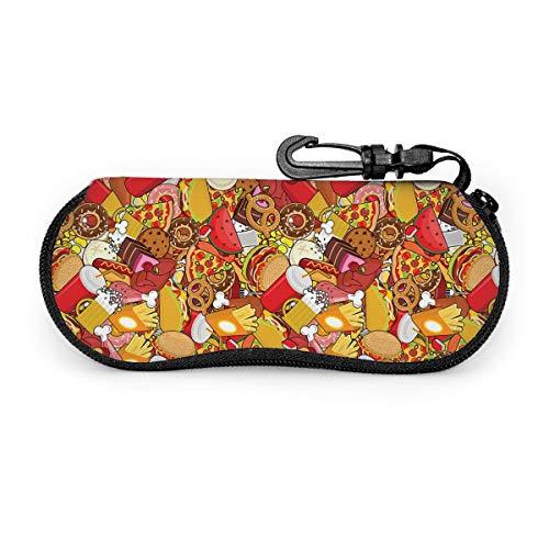 ハンバーガー 食べ物 メガネケース 眼鏡ポーチ サングラス 小物入れ コンパクト 筆箱 多機能収納ケース ジッパー付き フック付き ファスナー式
