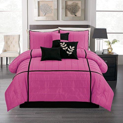 9 Pieces Twin Comforter Set Pink and Black Bed-in-a-bag Bedding + matching Curtains