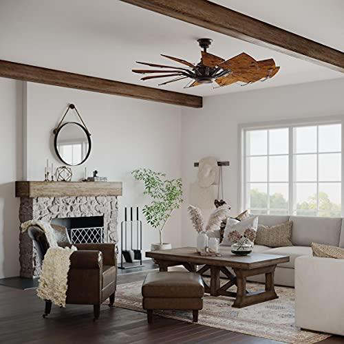 Springer Collection 60-Inch 12-Blade Distressed Walnut Coastal Windmill Ceiling Fan
