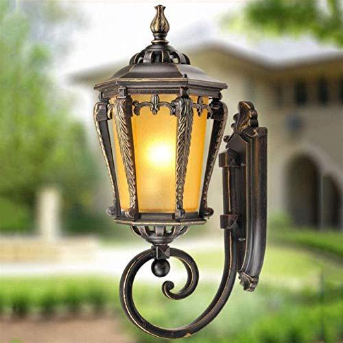 Lámpara de pared Retro Aplique, Antigua lámpara al aire libre E27 lámpara de pared de pared rústica lámpara al aire libre impermeable IP44 Patio Lámpara de aluminio Lámpara de cristal Bronce Bronce Vi