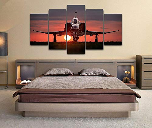 3D Leinwandbilder 5 Teile XXL Vlies Leinwand Bilder Dekoration F-4 Phantom Ii Militärflugzeug Bild Auf Leinwand 5Tlg Bilder Mehrteilig Zum Aufhängen Mit Rahmen