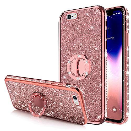 Carcasa para iPhone 6S Plus, carcasa para iPhone 6 Plus, con diseño de anillo de soporte brillante con estrás y purpurina de silicona de poliuretano termoplástico, marco cromado, oro rosa