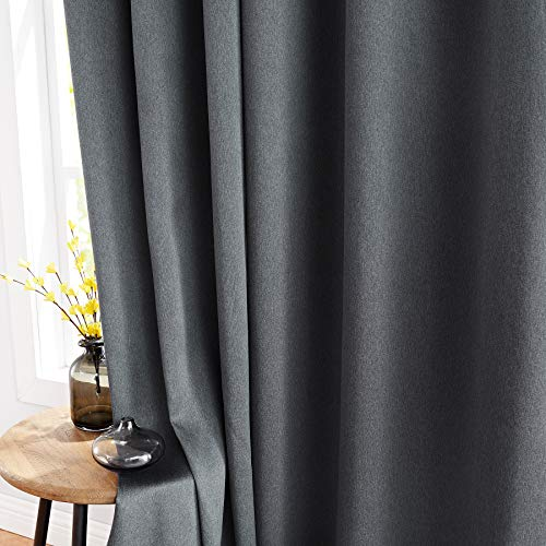 FMFUNCTEX Blackout Window Curtains Grey for Bedroom 96-inch Long...
