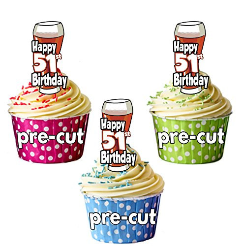 PRECUTA - Juego de 12 adornos comestibles para cupcakes, diseño de cerveza y pinta de Ale, 51 cumpleaños