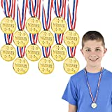 The Dreidel Company Gold Prize Medal Necklace Perfect for Kids, Reward for Athletes, Classroom Prizes (12-Pack)