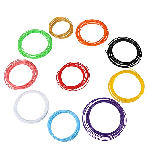 Professional 3D Printer Pen Filament Refills ABS/PLA 1.75mm 3D Doodler Printer Pen Plastic Consumables Material - 10 Colors 5m / Roll (ABS)