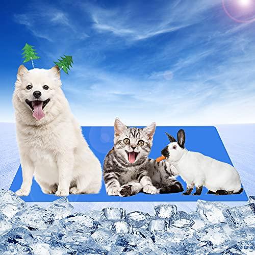 RANJIMA Haustier Kühlmatte, Kuhlmatte für Hund und Katze mit Ungiftiges Gel, Pet Cooling Mat Hund Cooler Pad für Kisten, Wasserdichte Hundematte für Outdoor, Waschbares Faltbar,Reisedecke für Haustier