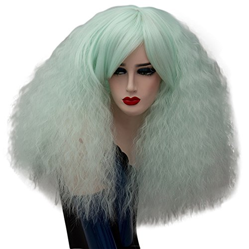 Short Fluffy Cosplay Wigs Mint Green Curly Wig Halloween Costume Wigs Synthetic Hair Oblique Bangs for Women with Wig Cap Z079K