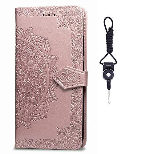 SsHhUu Galaxy A8s Hülle, Pu Leder Brieftasche Mandala Blume Prägung Karte Kartenfächern Standfunktion Stoßfest Hülle für Samsung Galaxy A8s / Samsung Galaxy A9 Pro (2019) 2019 (6.4 Zoll) Rose Gold