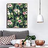 Flor de Hoja Verde Tropical de caligrafíaCuadros de Pared para Sala de Estar-Sin marco40X50CM