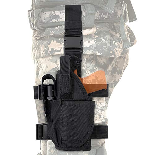 Tactical Drop Leg Holster, Adjustable Gun Holster Thigh Pistol Holster with Magazine Pouches for Left Handed, Black