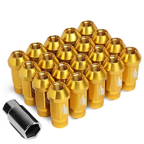 J2 Engineering LN-T7-014-15-GD Gold 7075 Aluminium M12 x 1,5 20 Stück L 50 mm Rändelmutter oben mit Adapter