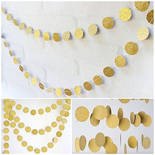 jijAcraft Wimpelkette Gold,Kreis Banner Girlande,16 M Glitter Papier Banner, hängende Wand Dekoration Bunting, Hochzeit Geburtstag Party Baby Shower Weihnachtsdekoration Banner