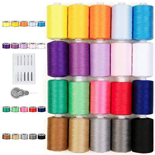 QUARKACE Sewing Thread, 20 Colors Sewing Machine Thread and Bobbin Kit, 850...