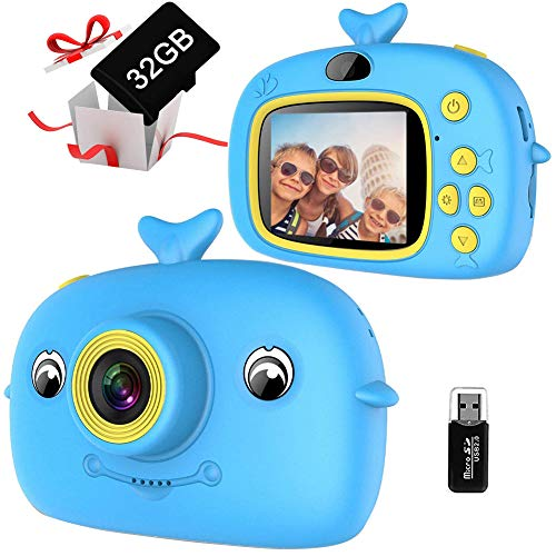 Cámara digital para niños de 2 pulgadas para selfie, cámara digital para niños, con tarjeta TF de 32 GB, regalo de cumpleaños para niños y niñas