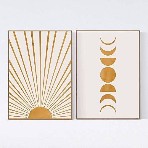CNHNWJ Sonne & Mond Poster & Kunstdrucke Gelb Beige Boho Stil Wand Bilder Dekor Abstrakte Gemälde Leinwand Bild Bilder Minimalistische Wohnkultur 40x60cmx2 / kein Rahmen