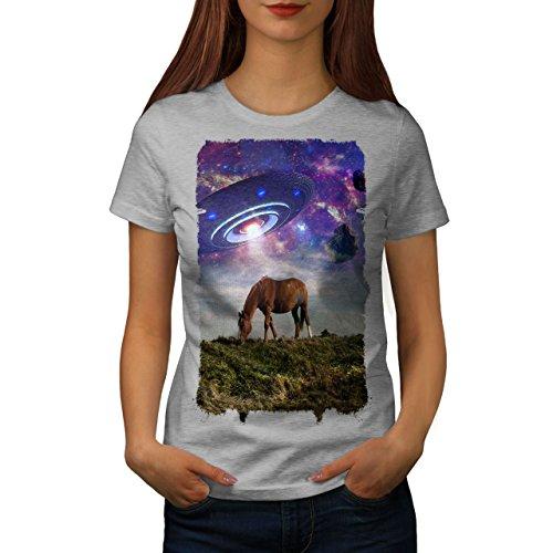 wellcoda Pferd UFO Raum Tier Frau T-Shirt Pferd Lässiges Design Bedrucktes T-Shirt