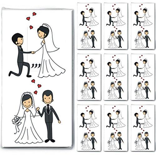 100 Taschentücher (10x10) Married Couple - Verliebtes Hochzeitspaar/Hochzeit/Freudentränen