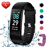 KITPIPI Fitness Tracker Activity Tracker Watch with Heart Rate Monitor, Pedometer Waterproof Smart Watch Sleep Monitor, Step Counter, Calorie Counter, for Kids Women and Men (Black+Purple)