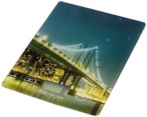 WENKO 25222100 Küchenwaage Slim Brooklyn Bridge - elektronische Digitalwaage mit Sensor-Tastatur und Tara-Funktion, Gehärtetes Glas, 14 x 1.2 x 19.5 cm, Multicolor