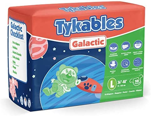 Tykables Galactic Adult Nappy Diaper ABDL - Pack of 10 (Size 2 - Large)