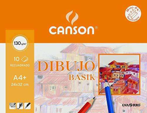 Canson Dibujo Basik Recuadro, Minipack A4+ (24 x 32 cm) 10 Hojas 130 g