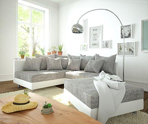 DELIFE Couch Clovis modular - Ecksofa, Sofa, Wohnlandschaft & Modulsofa (Grau/Weiss, Ecksofa Links mit Hocker)