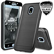 TJS Galaxy J7 2018/J7 Refine/J7 Star/J7 Eon/J7 TOP/J7 Aero/J7 Crown/J7 Aura/J7 V 2nd Gen Case, with [Full Coverage Tempered Glass Screen Protector] Phone Case Metallic Brush Finish Inner Layer